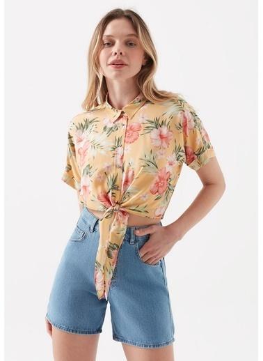 Mavi Hibiscus Desenli Bağlama Detaylı  Gömlek Sarı